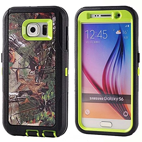 For Samsung Galaxy S6 Case - FiversTM Heavy Duty Case 3 in 1 Three Advantages Waterproof Dustproof Shakeproof with Forest Camouflage Desig Cell Phone Cases for Samsung Galaxy S6 Tree- Green