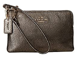 COACH Women\'s Box Program Smooth Corner Zip LI/Gold Clutch