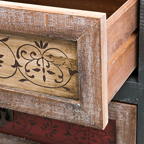 Leo Solid Wood 3 Drawers Chest Cabinet in Weathered Multi-colored Finish 3