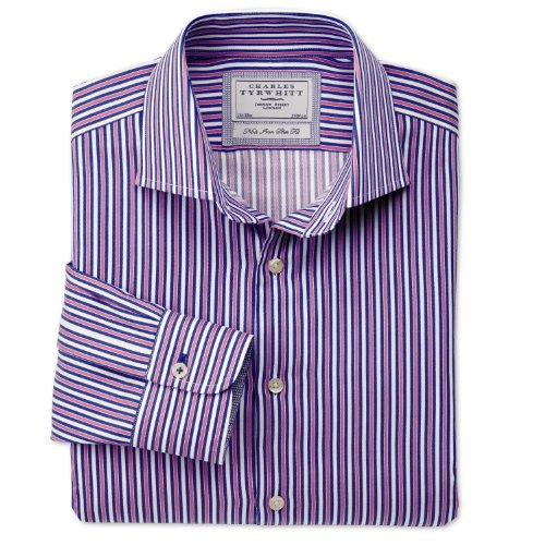 Charles Tyrwhitt Royal and pink stripe non-iron business casual slim fit shirt (16.5 - 33)