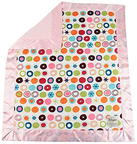 "My Blankee Circle O Le Minky White w/ Minky Dot Pink Baby Blanket, 30"" x 35"""