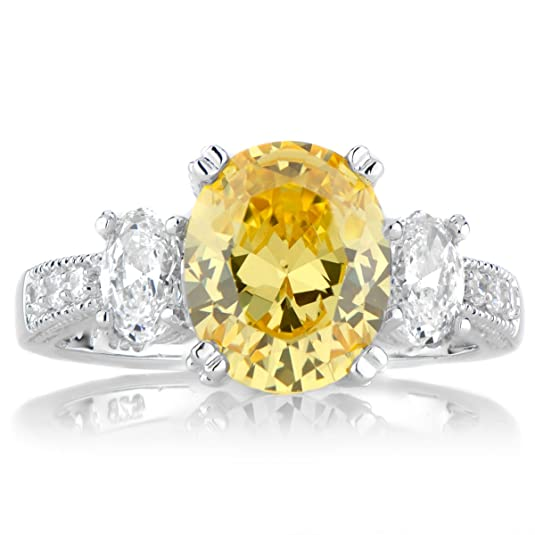 Lindsay's Canary Oval Three Stone CZ Ring