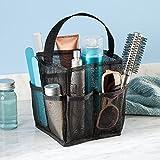 InterDesign Una Bathroom Shower Caddy Tote for Shampoo, Conditioner, Soap, Mesh, Black