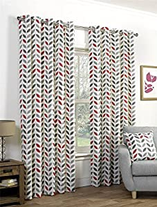 """Red Grey Leaves 66x90"""" 168x229cm Cotton Blend Lined Ring Top Curtains Drapes by Curtains"""