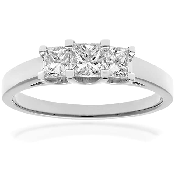 Naava Platinum Trilogy Ring, J/I Certified Diamonds, Princess Cut