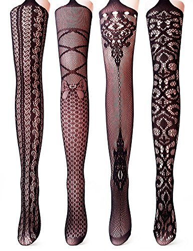 99484d09c3f Vero Monte 4 Pairs Women s Fishnet Tights Suspender Pantyhose Stretchy  Stockings