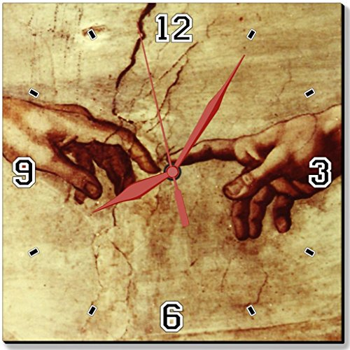 """David And God Touching Hands Love Jesus Repect Punktail'S Collections 10"""" Quartz Plastic Wall Square Clock Customized Made To Order"""