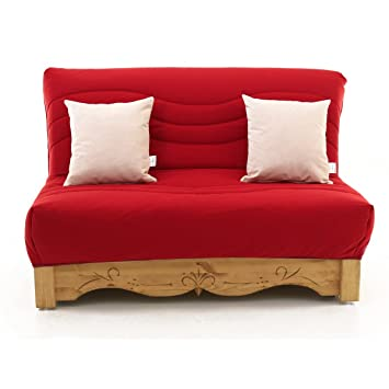 Canapé convertible BZ pin massif sculpté 160 x 200 cm Liso rouge Aspin-Canapé convertible BZ pin massif sculpté 160 x 200 cm Liso rouge Aspin