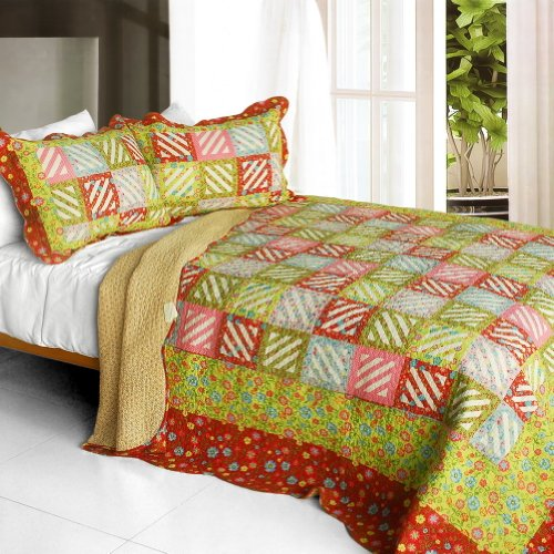 [Paradise Ranch] 3Pc Cotton Vermicelli-Quilted Printed Quilt Set (Full/Queen Size) front-900193