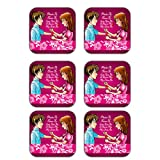 MeSleep Rakhi Wooden Coaster-Set Of 6 - B013LESXHS