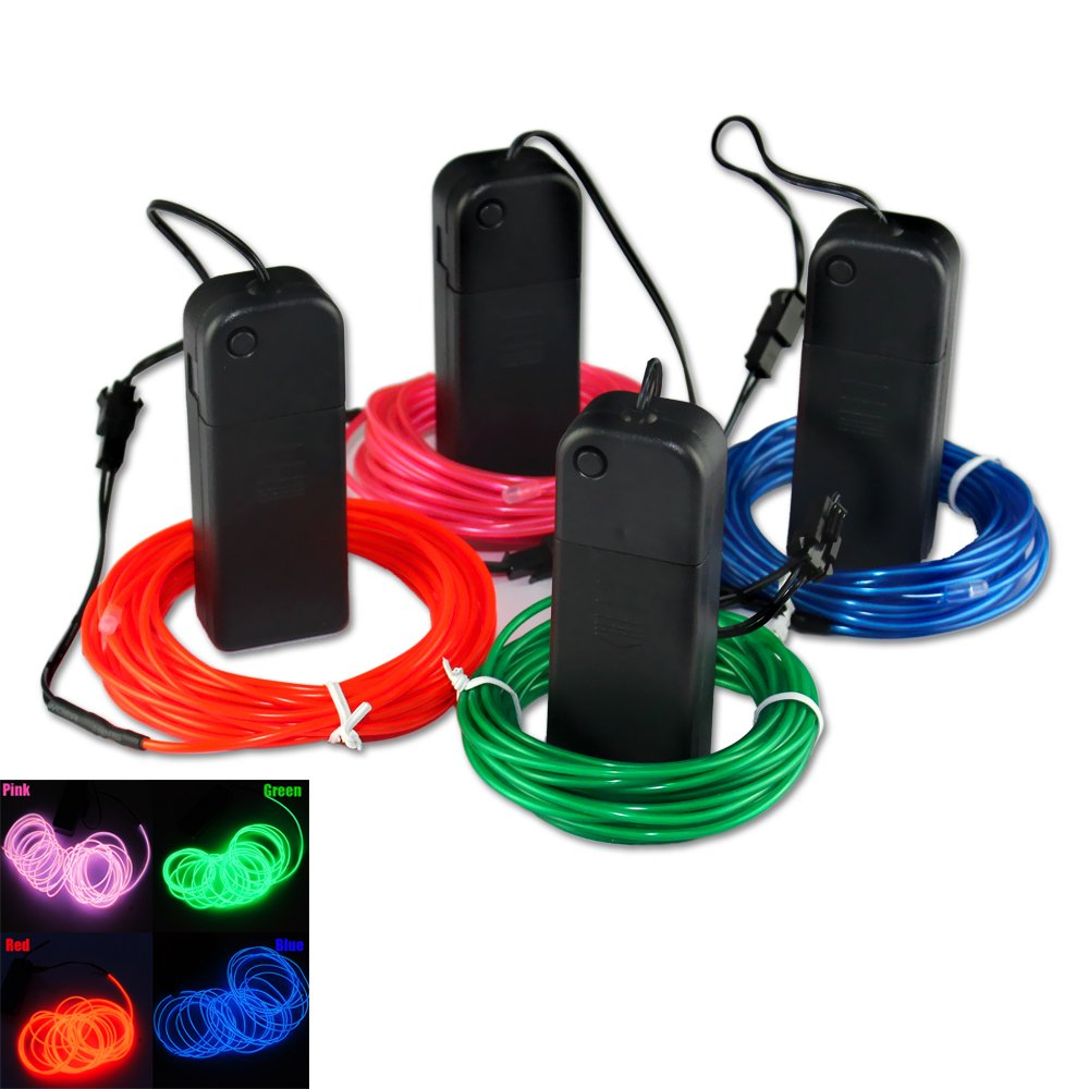ZITRADES&reg 4 modes 15FT Neon Glowing Strobing Electroluminescent El Wires Multiple Color Red Green Blue Pink 4PCS/Lot