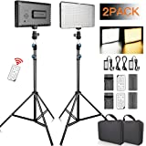 FOSITAN LED Video Light with 2M Stand and 2X [Battery+Charger+Remote] Bi-Color 336 LED 2350lux CRI 96+ Video Lighting Kit for Studio Photography Video Shooting (2 Packs) (Color: 2 set, Tamaño: 77cm/30.3'')