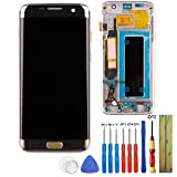 E-yiiviil Replacement OLCD Display Touch Screen Digitizer for Samsung Galaxy S7 Edge G935A G935V G935P G935T G935F (Gold+Frame)+Tools (Color: Gold)