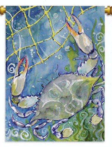 Nautical Ocean Beach Blue Crab Standard Flag Banner