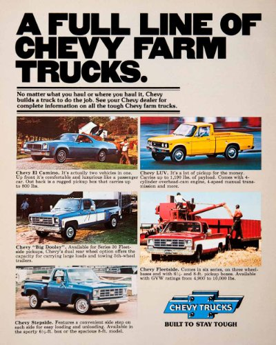 1976 Ad Chevy Truck El Camino Big Dooley Stepside Fleetside LUV Pickup Chevrolet - Original Print Ad