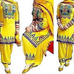Yellow Patiyala Dress material