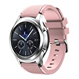 Feskio Samsung Gear S3 Frontier/S3 Classic Replacement Watch Band, Accessory Soft Silicone Bracelet Wrist Strap Watch Band for Samsung Gear S3 Frontier/Classic Smartwatch (Color: Soft Pink)