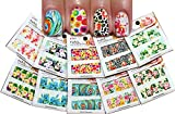 Nail Art Water Slide Tattoo Decals Full Cover Peacock Flowers Animal Patterns, 10 Pack /Cxx/