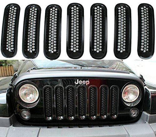 SunroadTek Black Front Grille Insert Kit For Jeep Wrangler Rubicon Sahara Jk 2007-2015 Model, 7 Pieces (Grill Pieces compare prices)