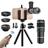 Vorida Phone Camera Lens, 6-in-1 Cell Phone Camera Lens, 12X Telephoto Lens+198° Fisheye Lens+0.6X Wide Angle Lens+15X Macro Lens+Tripod+Remote Shutter Compatible for iPhone X 8 7 6 Plus Samsung etc. (Color: 6-in-1)