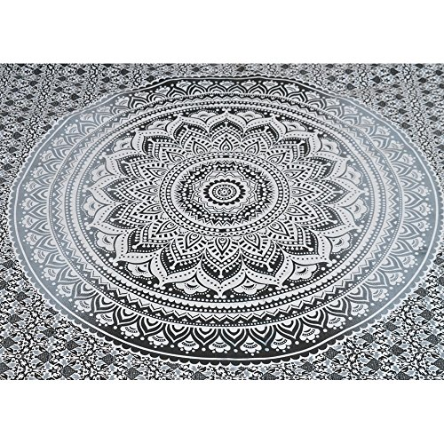 Exclusive-Twin-Graysilver-Ombre-Tapestry-by-JaipurHandloom-Ombre-Bedding-Mandala-Tapestry-Multi-Color-Indian-Mandala-Wall-Art-Hippie-Wall-Hanging-Bohemian-Bedspread
