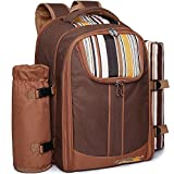 Ferlin Picnic Backpack for 4 With Cooler Compartment, Detachable Bottle/Wine Holder, Fleece Blanket, Plates and Cutlery Set (Coffee)