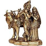 1st Home Brass Lord Radha Krishna With Cow Idol (10.16 Cm X 7.62 Cm X 15.24 Cm,Golden)