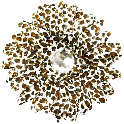 """4"""" Leopard Print Crystal Gerbera Daisy Flower Hair Clip"""