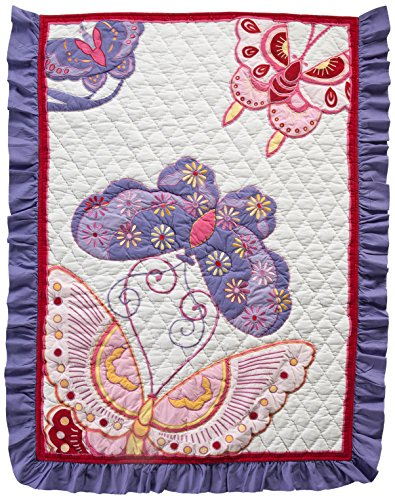 """Divine Baby Asia Girl Promise Ruffle, White/Pink/Purple, 33"""" x 44"""""""