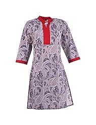 Karni Women's Cotton Grey & Red Kurti