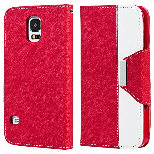Mylife American Rose Red And Ivory White - Koskin Faux Leather (Card, Cash And Id Holder + Magnetic Detachable Closing + Hand Strap) Slim Wallet For New Galaxy S5 (5G) Smartphone By Samsung (External Rugged Synthetic Leather With Magnetic Clip + Internal