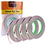 4 Pack Copper Foil Tape with Conductive Adhesive for EMI Shielding, Slug Repellent, Paper Circuits, Electrical Repairs, Grounding(1/4inch) (Color: Copper, Tamaño: 4 pack)