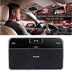 DLAND Bluetooth 4.0 Visor Handsfree In-Car Speakerphone Car kit for iPhone Samsung HTC and all other Cellphones
