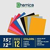 CHEMICA Quickflex HTV, Heat Transfer Vinyl Bundle 12 Pack of 12
