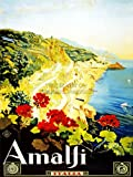 TRAVEL TOURISM AMALFI ITALY BEACH COAST BEAUTIFUL VINTAGE ADVERT POSTER 2285PY