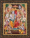 Avercart Lord Rama / Shree Ram Darbar / Sri Ram, Laxman, Janki (Sitaji), Bharat, Shatrughan and Hanuman / Hanumanji Poster 8.5x11 inch with Photo Frame (21x28 cm framed)