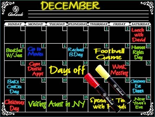 Dry Erase Magnetic Monthly Board Calendar Magnet For Refrigerator Fridge - 2 Liquid Chalkboard Markers (Refrigerator Magnet Chalkboard compare prices)