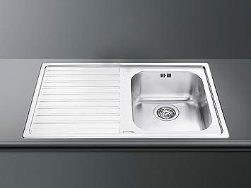 smeg ll861s edelstahlsp le satiniert k chensp le sp lbecken abwaschbecken einbau dc976. Black Bedroom Furniture Sets. Home Design Ideas