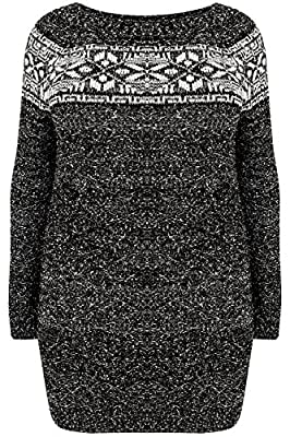 Yoursclothing Plus Size Womens Fairisle Longline Knitted Jumper