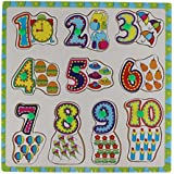 0-9 Wooden Number Matching Puzzle Picture Board With Peg Knobs - (1c469) - Learning Educational Toys For Kids...