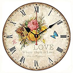 Romantic Sweet Roses Clock, 14 Eruner Rustic Floral Style Wall Clock *Love* Rose Butterfly Wooden Art Decor Non-Ticking Bedroom Study Desk Home Decoration(Love Rose,C-70)