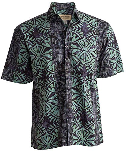 Geometric Forest Tropical Hawaiian Cotton Shirt By Johari