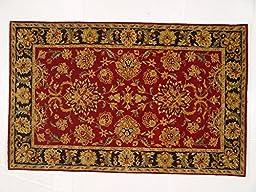 Lifestyles LS-RM3 5 x 8 ft. Kavera 100 Percent Long Fiber Wool Hand Made Rug, Red & Black