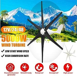 YUYUKUAILAI 5000W Wind Generator 12V/24V/48V 6 Blade Black Wind Turbines Horizontal Home Powers Windmill Energy Turbines,24 (Color: 24)
