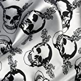 White Poly Satin Fabric with Black Skulls Per Metre