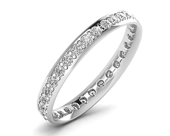 F/SI 0.65ct Round Brilliant Cut Diamond Full Eternity Wedding Ring 9 carat White Gold