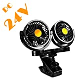24V Dual Head Electric Car Fan with Clip, AFTERPARTZ HX-02 360 Degree Rotatable Car Auto Cooling Air Circulator Fan for 24V Auto Vehicles