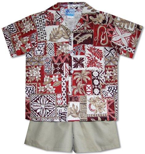 Hawaiian Symbols Heritage Boy's Hawaiian Aloha Camp Shirt & Cotton Shorts 2PC Cabana Set in Red - 12 Months