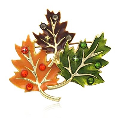 7b1d902af Fall Maple Leaves Brooch Pin Necklace Pendant Thanksgiving Jewelry  Size:Approx. 1.875 Inch Wide (across the brooch), 1.75 Inch High (Please  refer to the ...