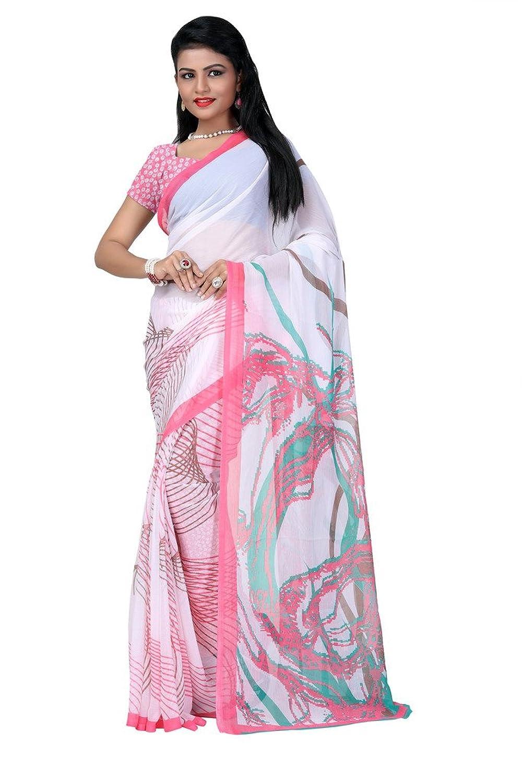 White Printed Chiffon Saree